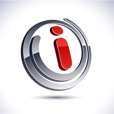 3D i letter icon.