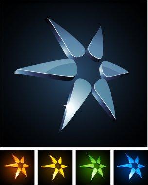 Color star vibrant emblems.