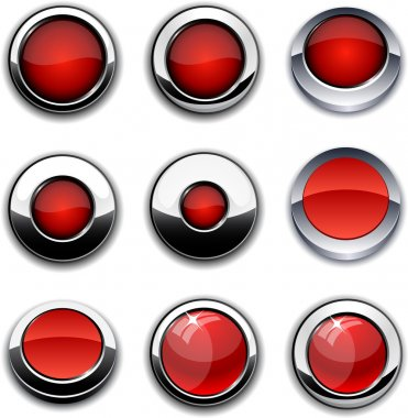 Red round buttons with chrome borders.