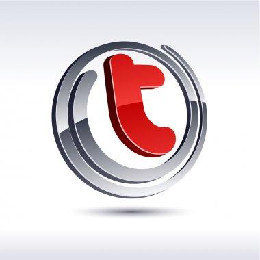 3D t letter icon.