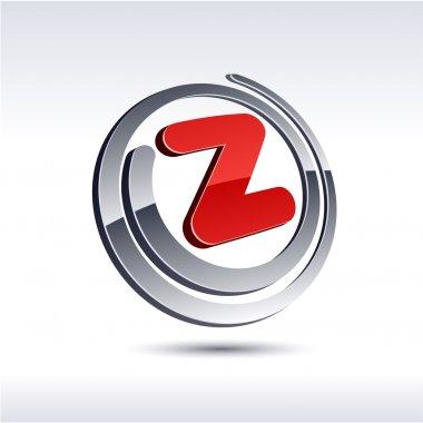 3D z letter icon.