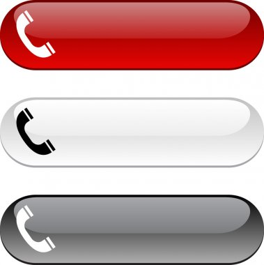 Telephone glossy buttons. Three color version. stock vector
