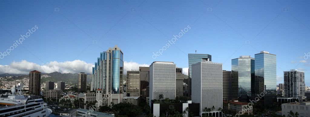 Downtown Honolulu Skyline along Nimitz Highway