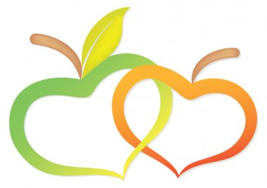 Two apples due to heart twisted together clip art vector