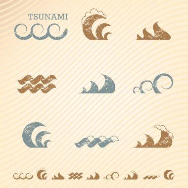 Set of grunge wave symbols for design