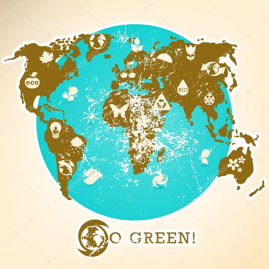 Grunge Earth, ecology illustration
