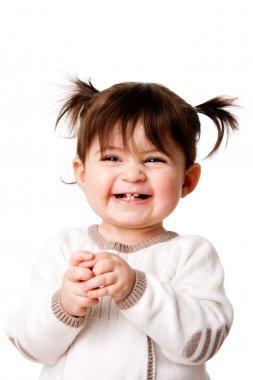 Happy laughing baby toddler girl