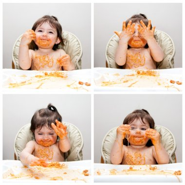 Happy baby funny messy eater