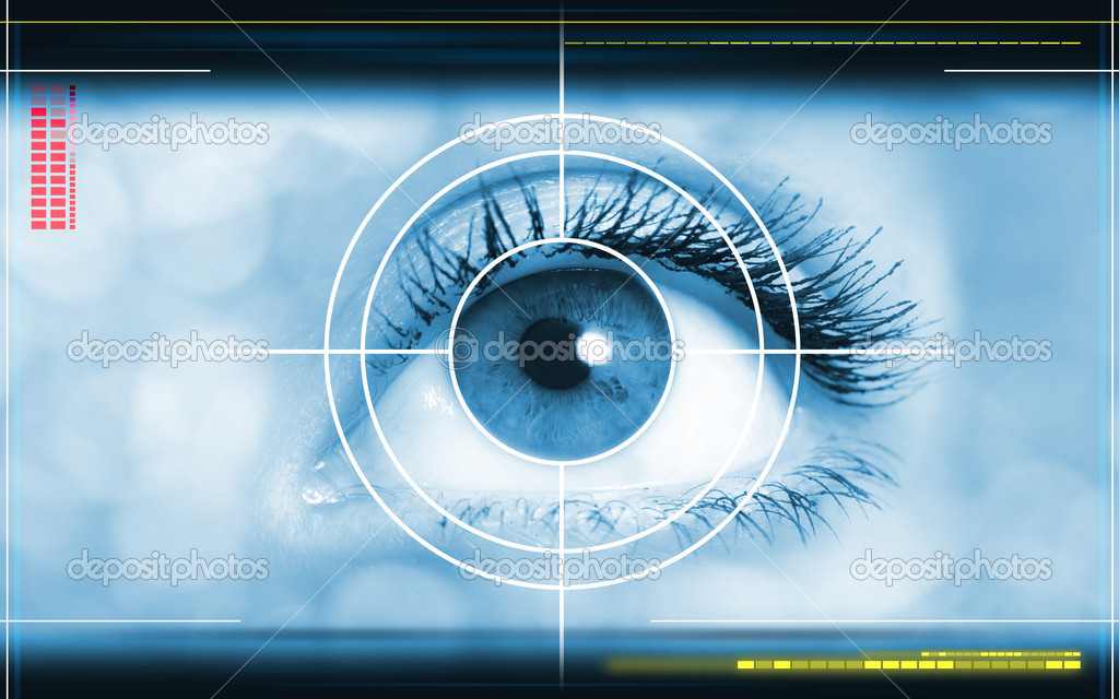 High-tech technology background with targeted eye on computer display stock vector