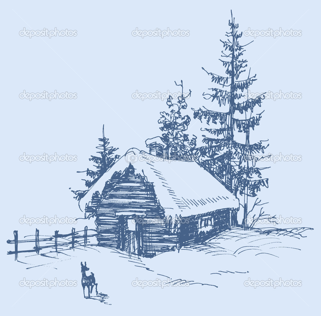 Winter landscape sketch