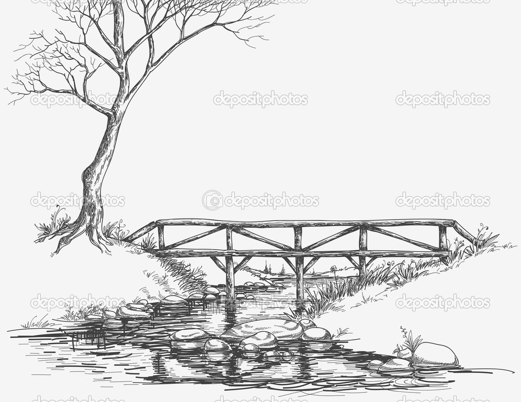 Xfig Line Drawing : Bridge over river sketch — stock vector danussa