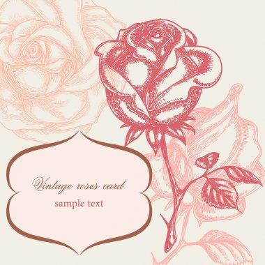 Vintage rose floral card