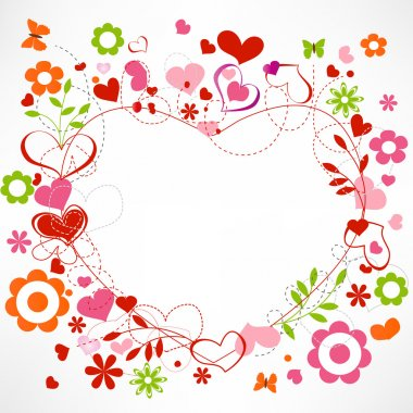 Hearts and flowers frame clip art vector