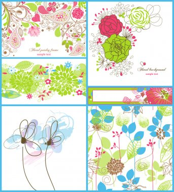 A collection of floral backgrounds: frames, seamless patterns and greeting cards stock vector