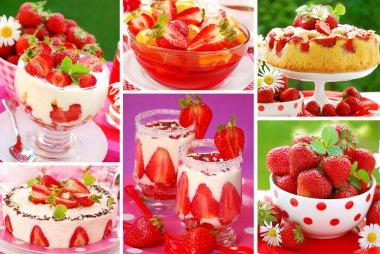 Strawberry`s desserts photos-collage