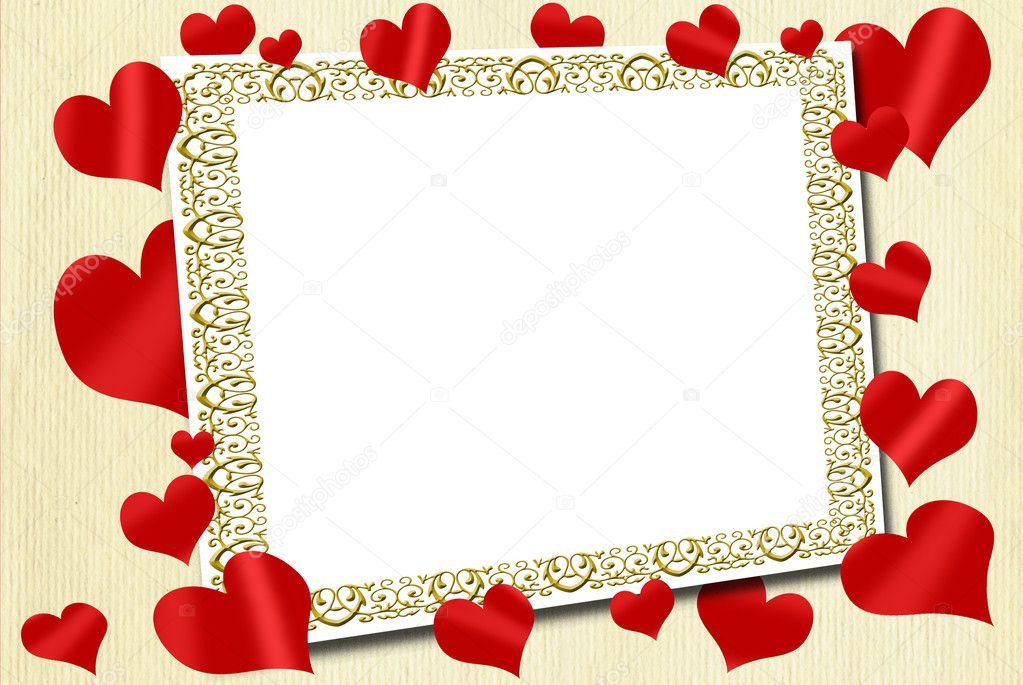 marco de amor con los corazones rojos sobre fondo de tela — Foto de ...