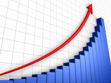 Business growth graph with grid and arrow, positive trend