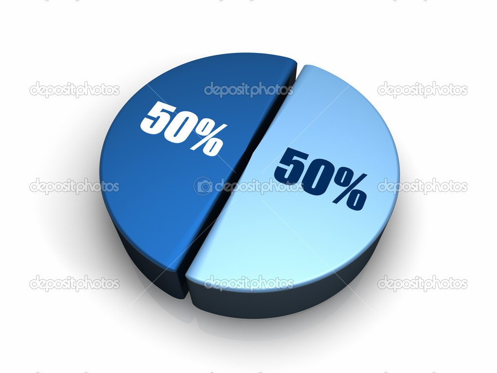 Blue pie chart 50 50 percent stock photo threeart 4677746 blue pie chart 50 50 percent stock photo nvjuhfo Gallery