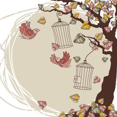 Vector autumn composition with tree and birds clip art vector