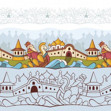 Background with fairytale characters