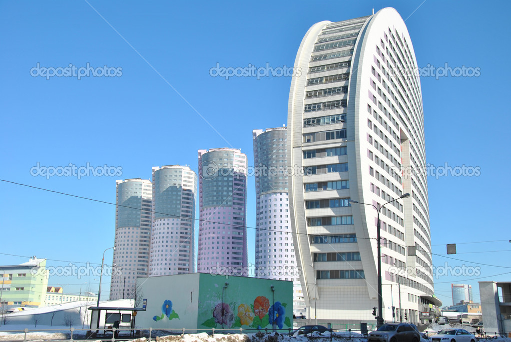Modern high rise apartment buildings in moscow stock for Modern high rise building design
