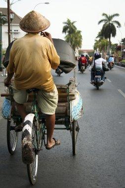 Tricycle rickshaw driver yogyakarta