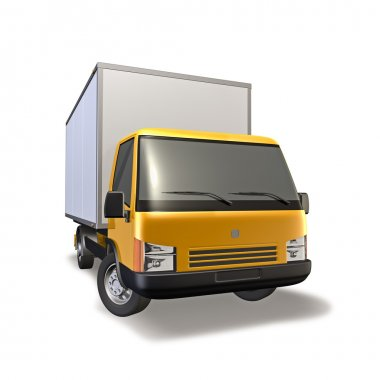 3d Illustration of yellow small truck stock vector