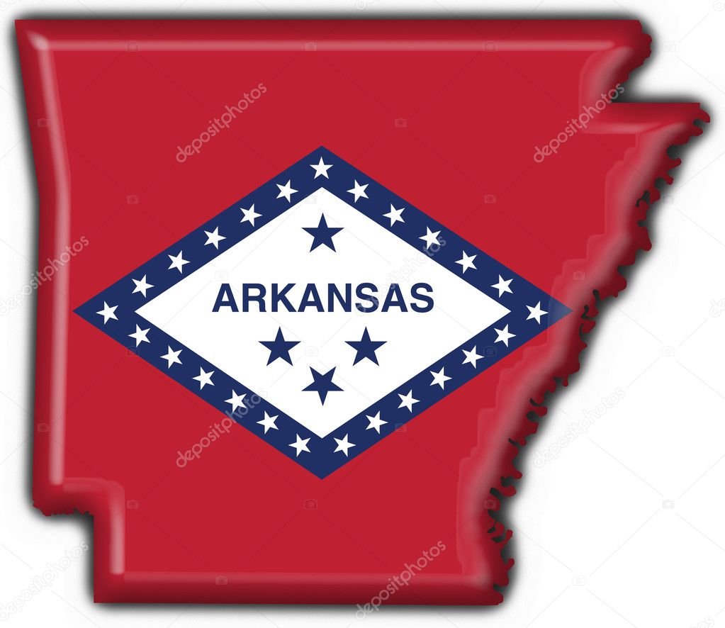Arkansas USA State Button Flag Map Shape Stock Photo Fambros - Arkansas usa map