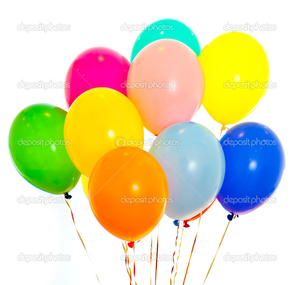 Colorful balloons bunch filled with helium isolated on for What to do with balloons