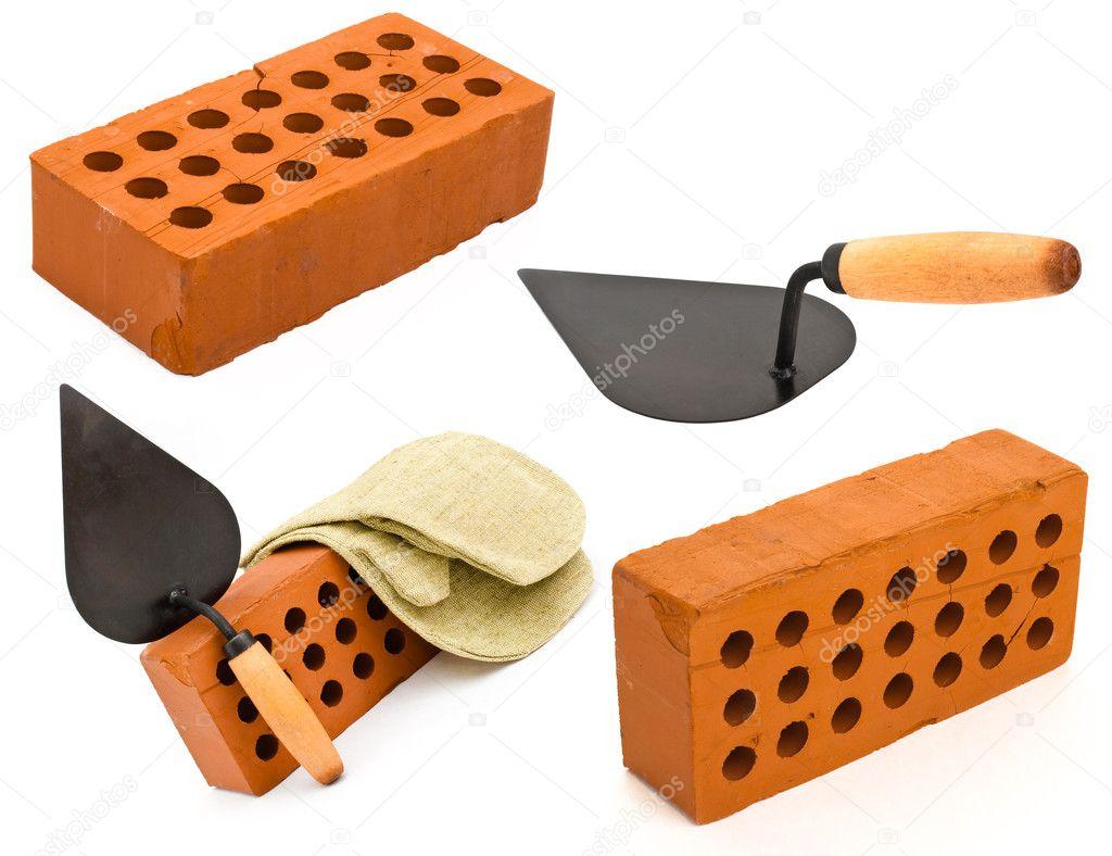 Rojo de ladrillo cer mico perforado llana y el guantelete aislado o foto de stock andrey - Ladrillo ceramico perforado ...