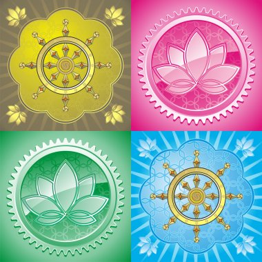 Set of oriental pattern with lotus and dharmacakra stock vector