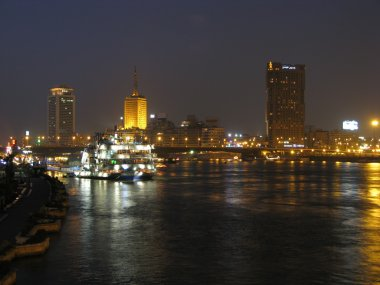 Different shots of Cairo and the river Nile at night