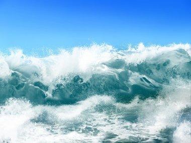 White ocean waves on blue sky background - Computer Illustration