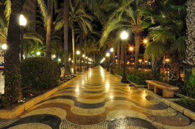 Alicante main promenade, Benidorm, Spain