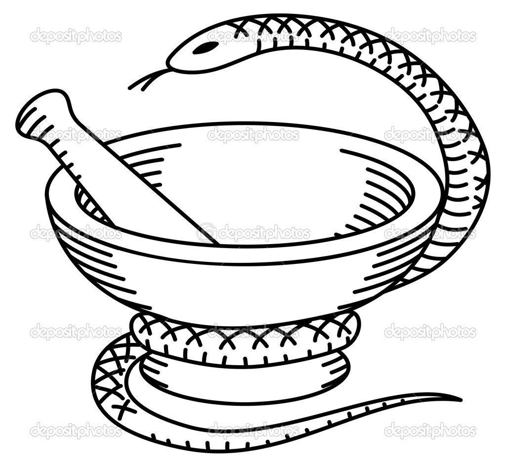 Pharmaceutical mortar, pestle and a snake. — Stock Vector ... for Mortar And Pestle Drawing  54lyp