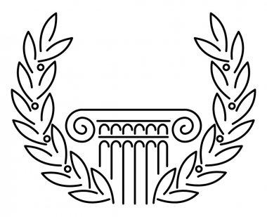 Antique Greek Column and Laurel