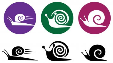 Snail. Vector icon set.