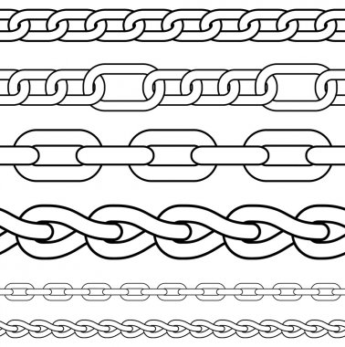 Chain. Set of seamless vector borders.
