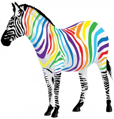 Zebra. Strips of different colors. Vector illustration. stock vector