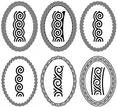Oval frame with a meander. Vector set.