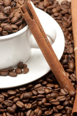 Coffee beans mug and cinnamon