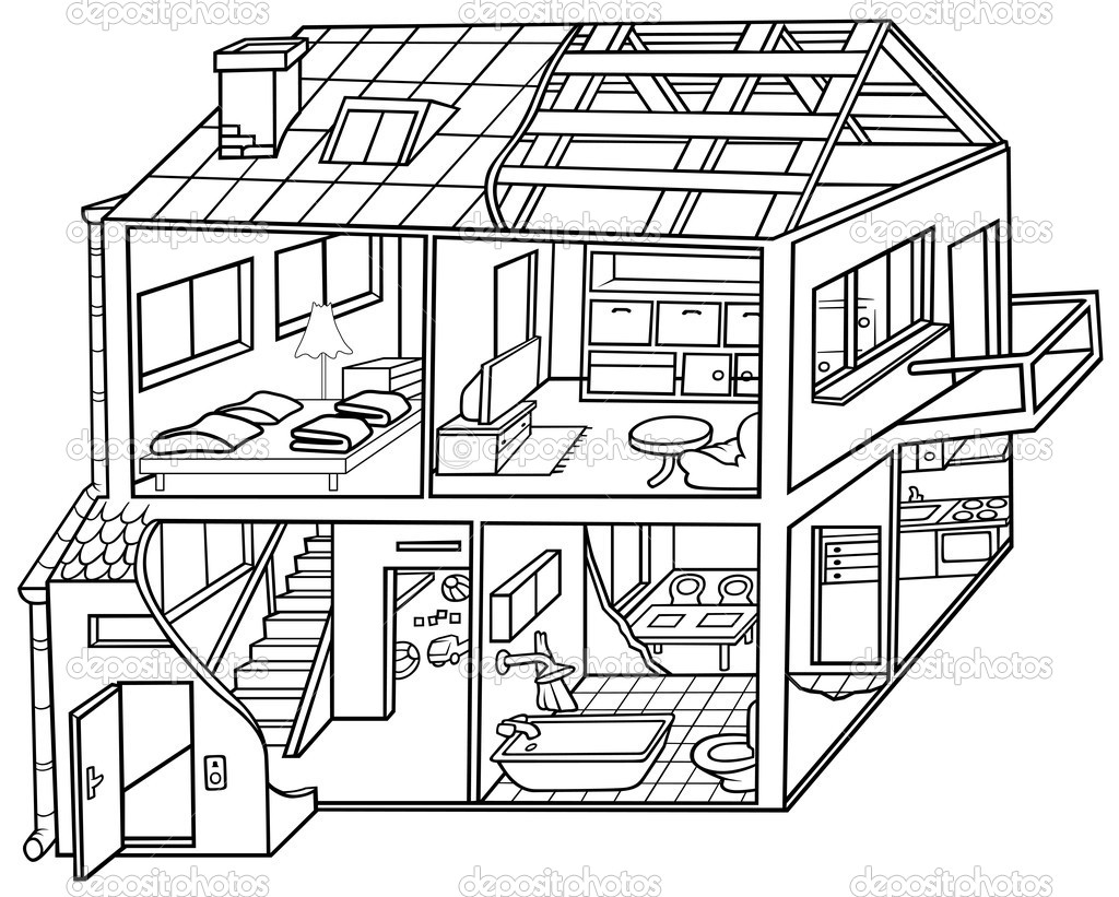 Line Art House Images : Dwelling house — stock vector dero
