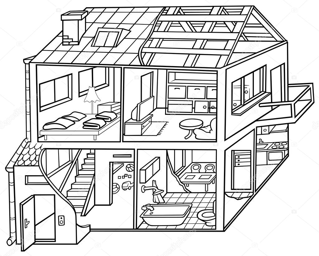 Dwelling house stock vector dero2010 4792469 for Two story house drawing