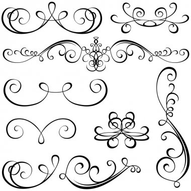 Calligraphic elements - black design elements, illustration vector stock vector