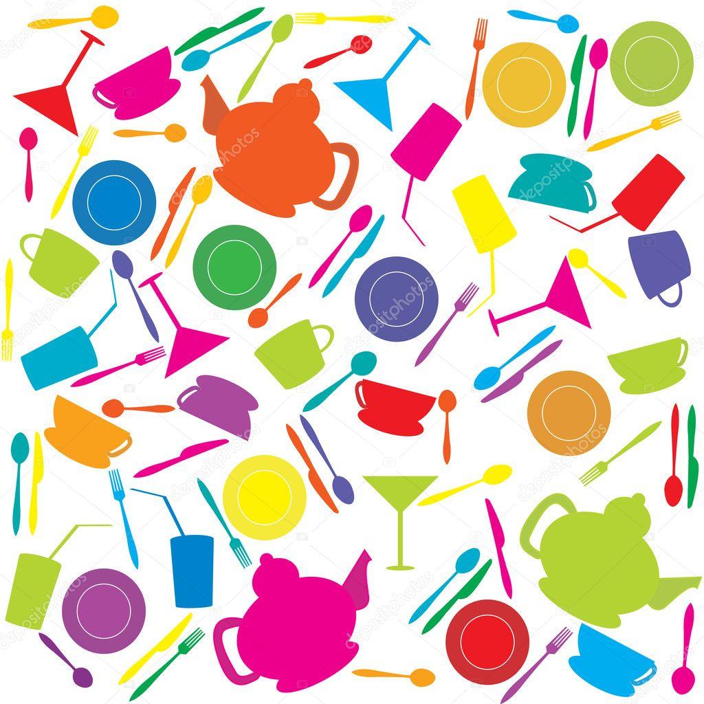 fondo con utensilios de cocina de colores fotos de stock