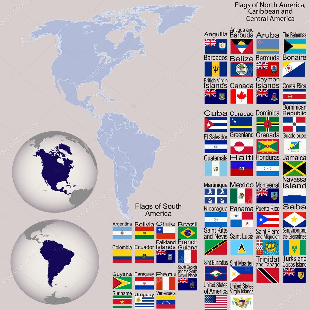 Map Of North And South America With All Flags And Earth Globes - Download map of north america