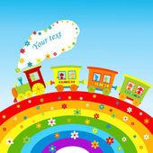 Fotografia illustrazione con treno di cartone animato, arcobaleno e luogo per il vostro testo