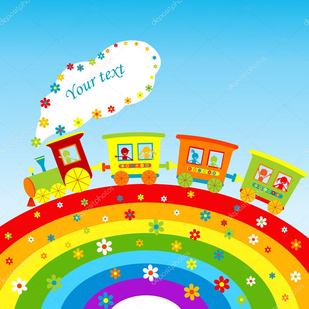 illustration with cartoon train rainbow and place for your text