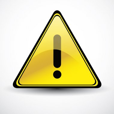 Yellow Glossy Warning danger sign