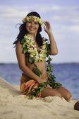 Hula-Tänzerin sitzt am Strand